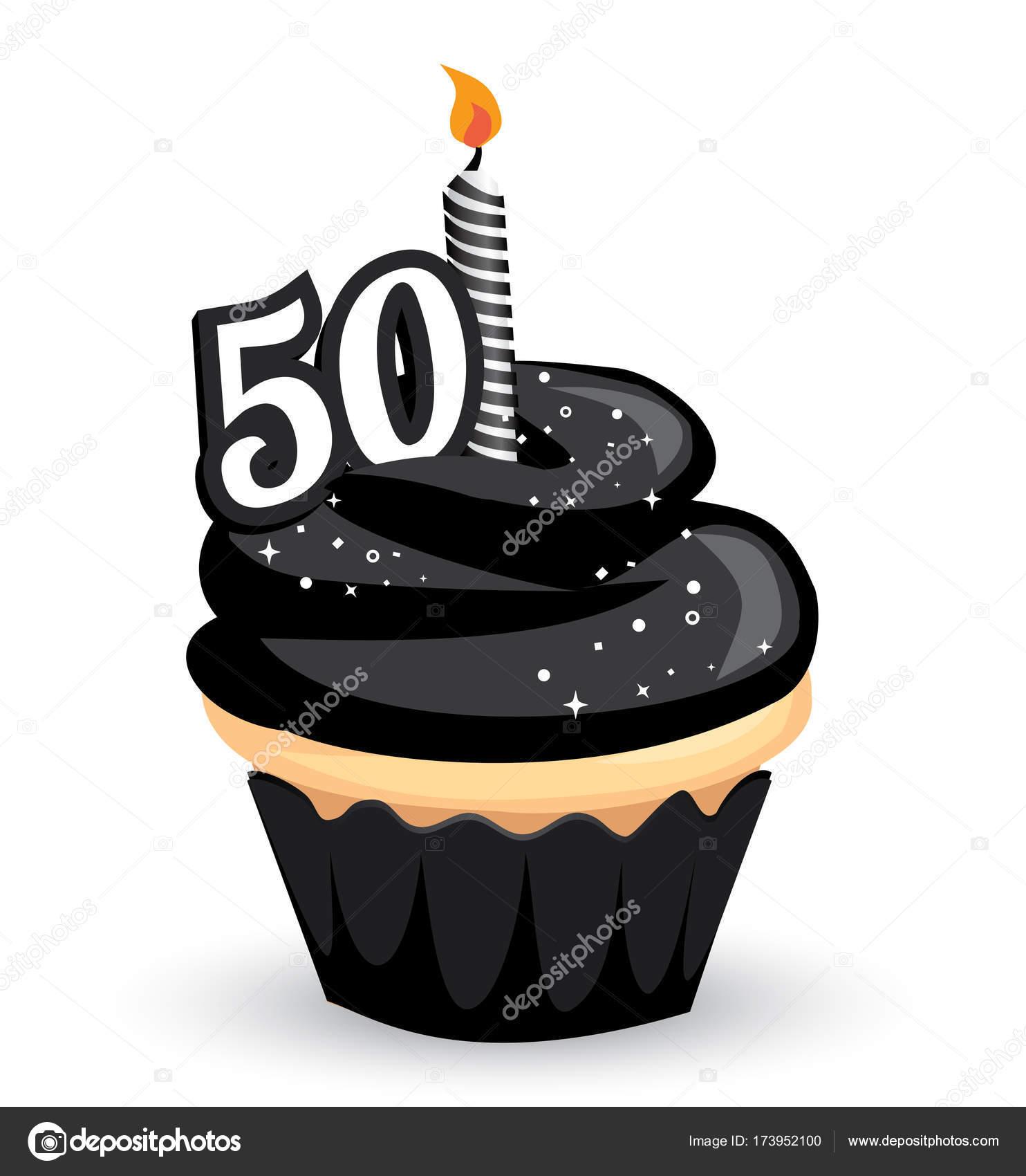 50e Anniversaire Clipart Cupcake Glaçage Noir Brillant Et