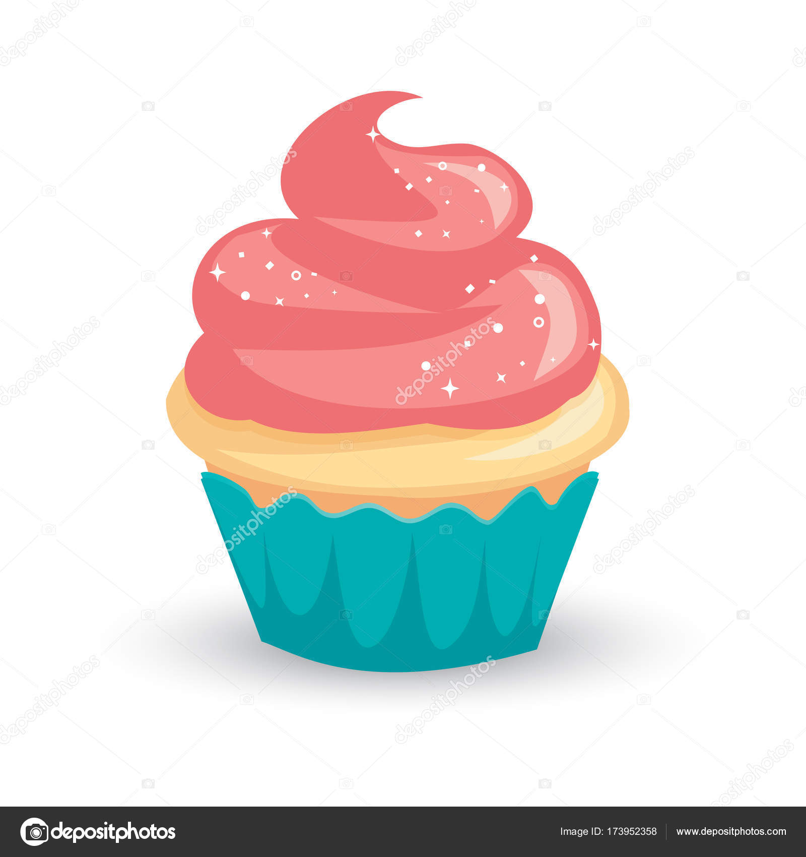 pretty cartoon vanilla cupcake with pink icing and sparkly white  u2014 stock vector  u00a9 9lives  173952358