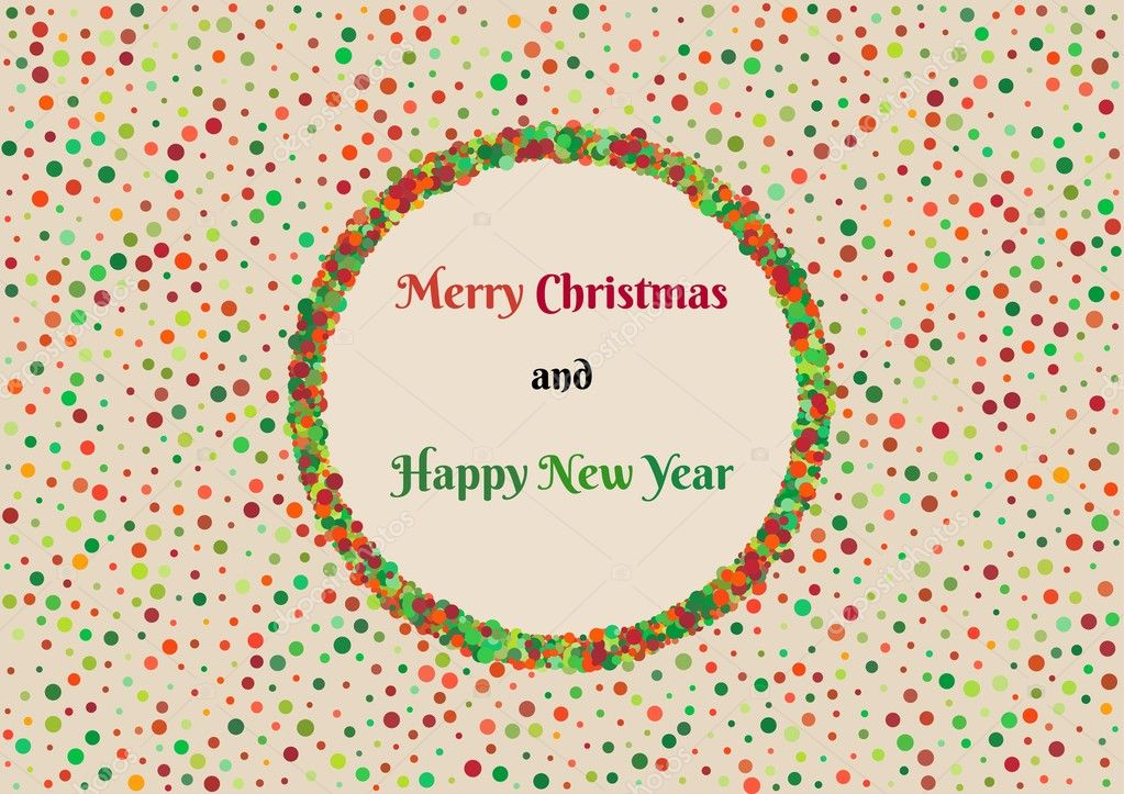 fondo con puntos de color y el deseo de Navidad — Archivo Imágenes ...