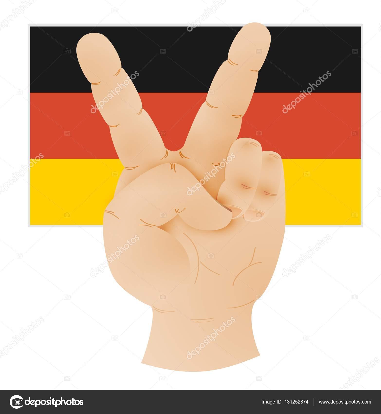 ピースサインとドイツの旗を示す手 ストックベクター Muuraa 131252874