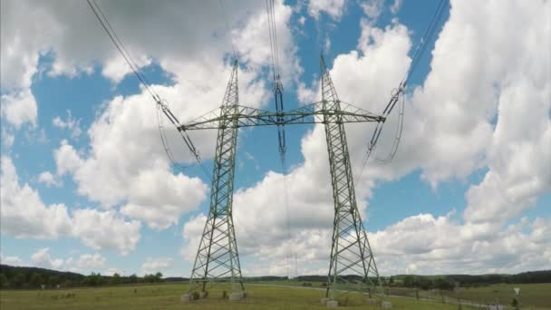 High voltage electricity tower and power lines