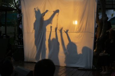 Shadow play and storyteller stories and kids at night at fun parties and camps to enrich dreams and imagination.