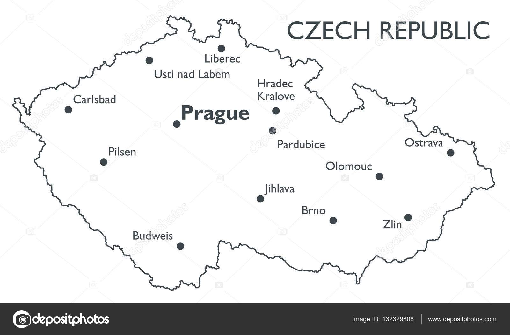 Vector map of Czech republic Stock Vector lynxv 132329808
