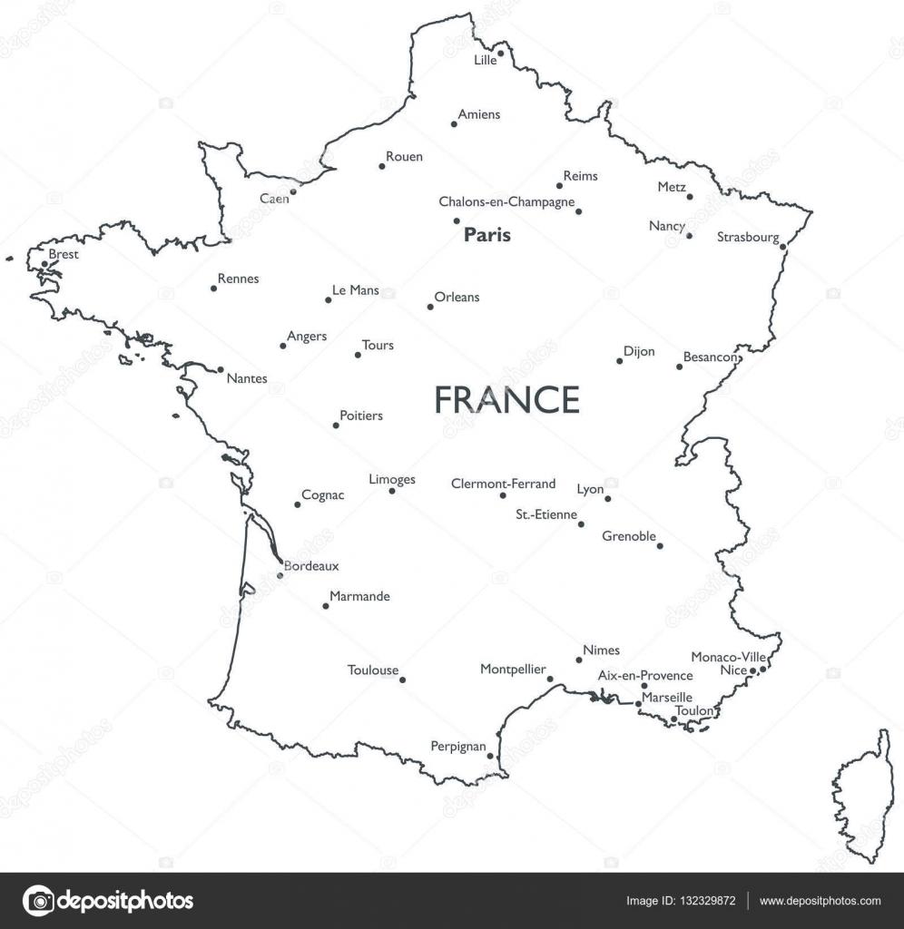 Cartina Della Francia In Bianco E Nero.Vector Map Of France Stock Vector C Lynx V 132329872