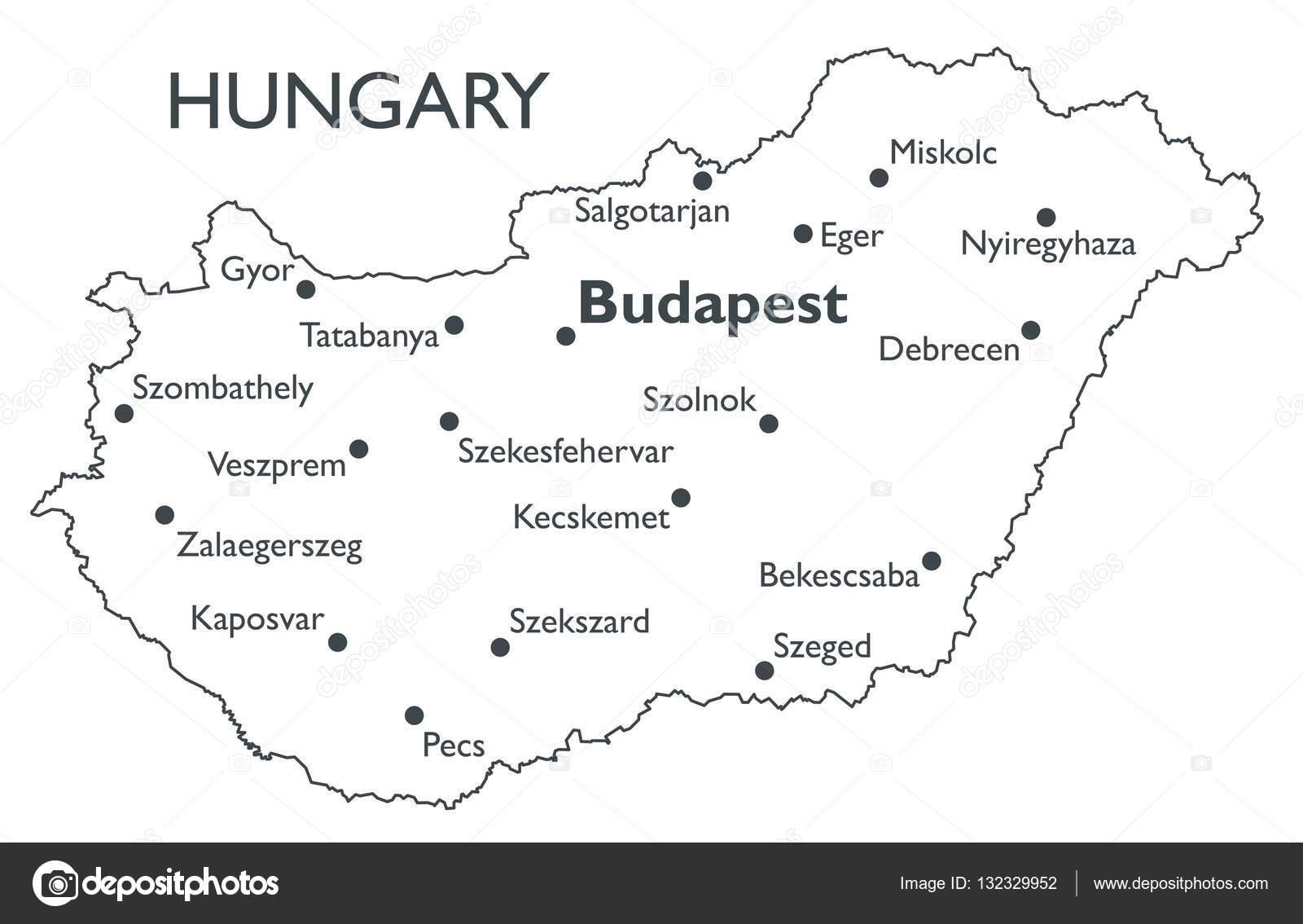 Vector Map Of Hungary Stock Vector C Lynx V 132329952