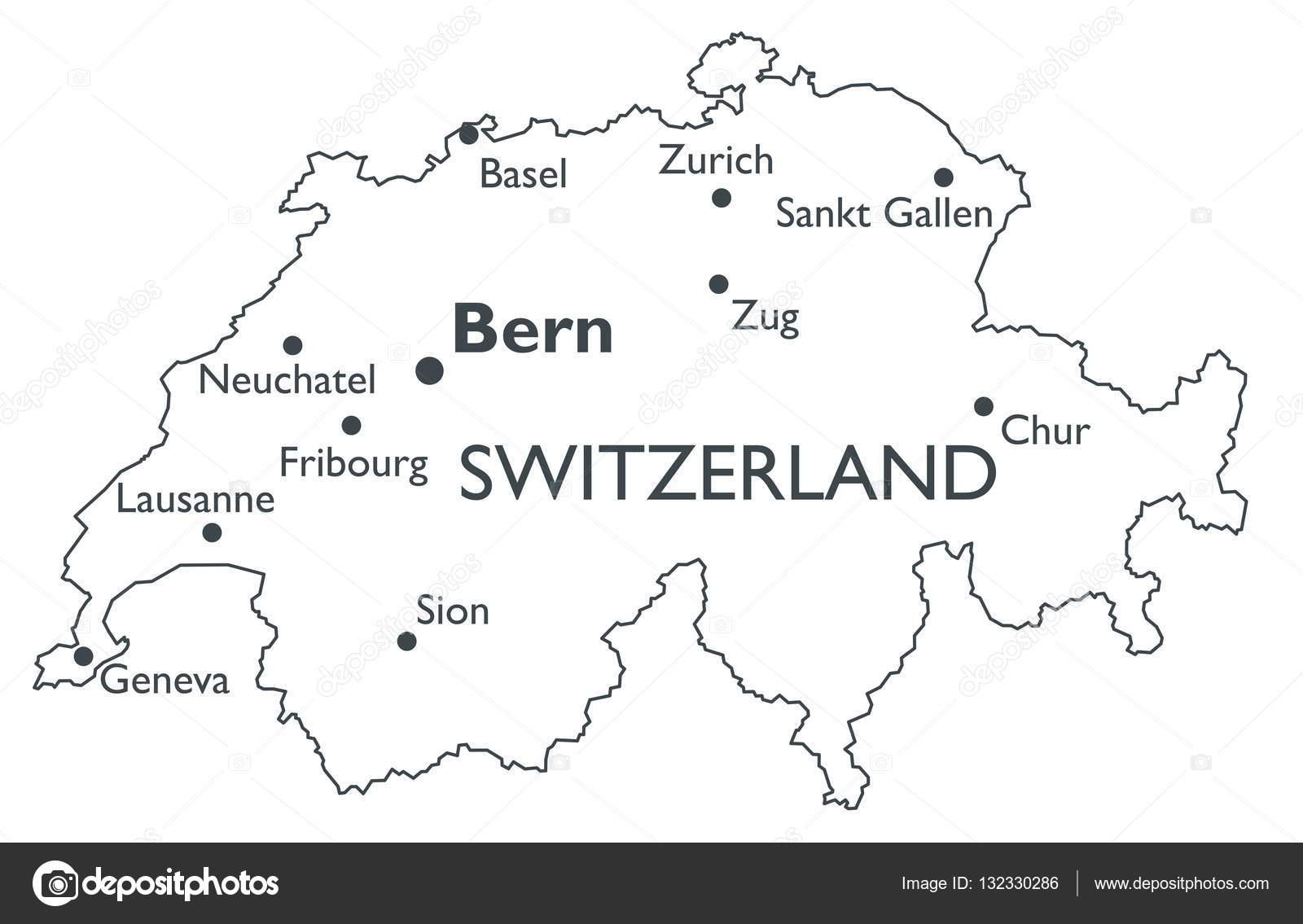Vector map of Switzerland Stock Vector lynxv 132330286
