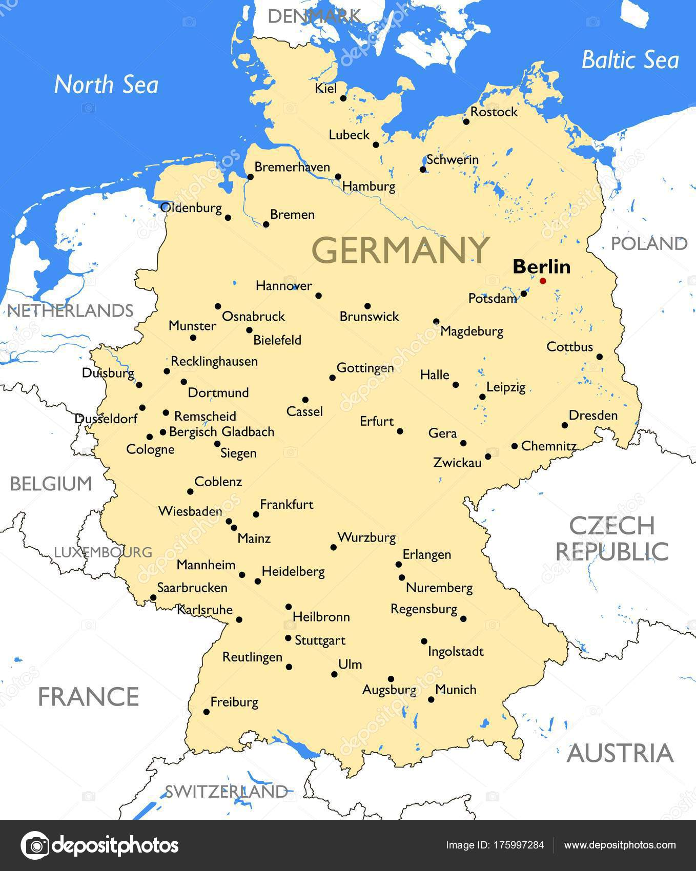 Germany Map Vector Detailed Color Germany Map Stock Vector