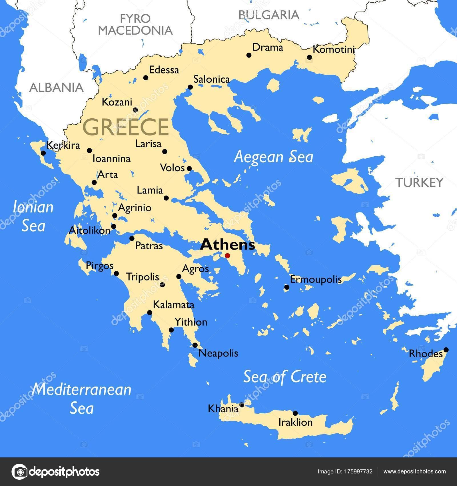 Greece Map Vector Detailed Color Greece Map Stock Vector
