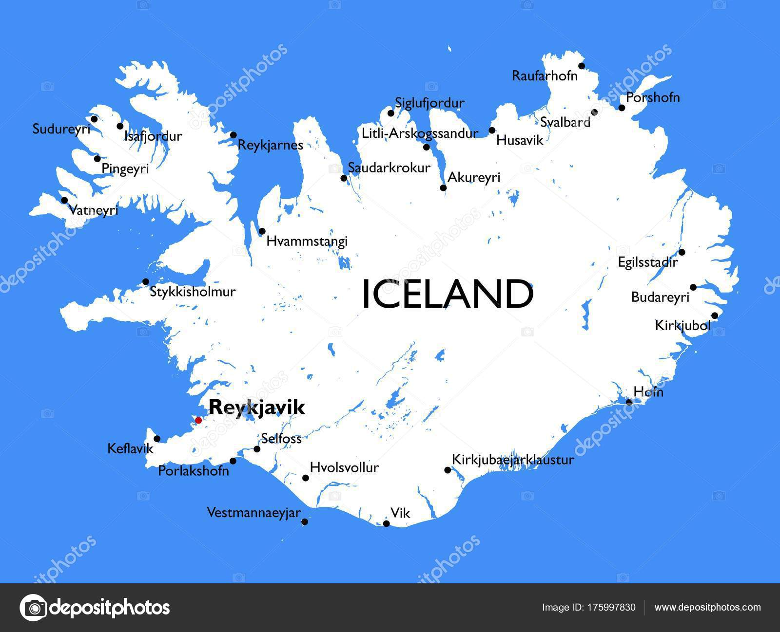 Iceland Map Vector Detailed Color Iceland Map — Stock Vector ...