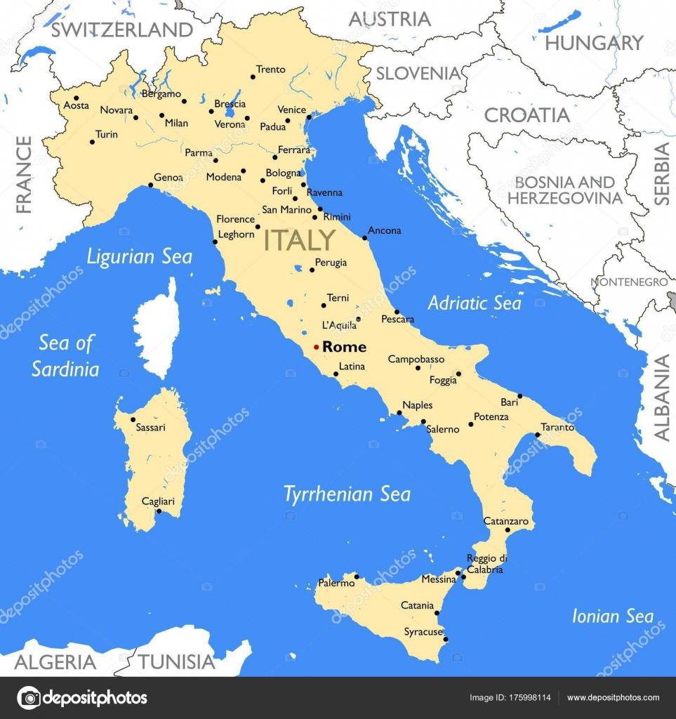 Carte Italie Novara.Carte Italie Carte Italie Couleur Detaillee Vecteur Image