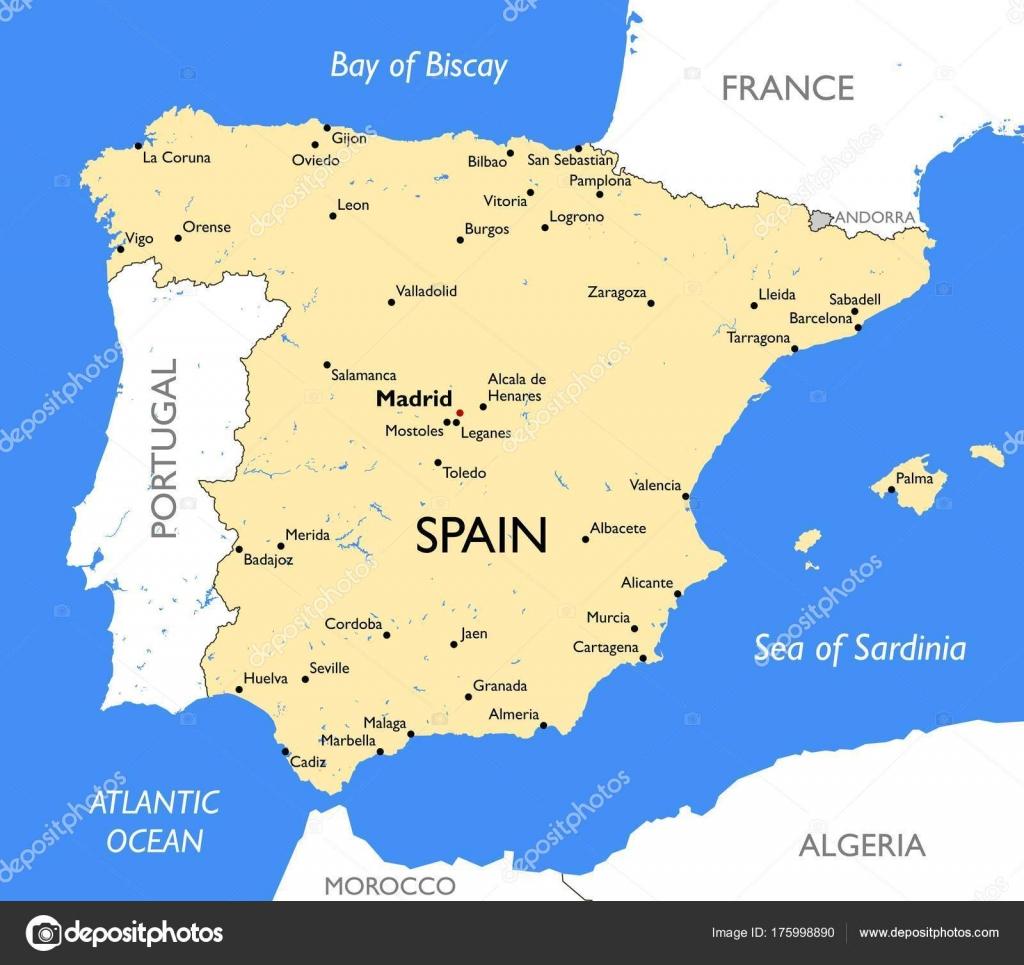 Karta Pa Spansk.Spanien Karta Vektor Detaljerad Farg Spanien Karta Stock Vektor