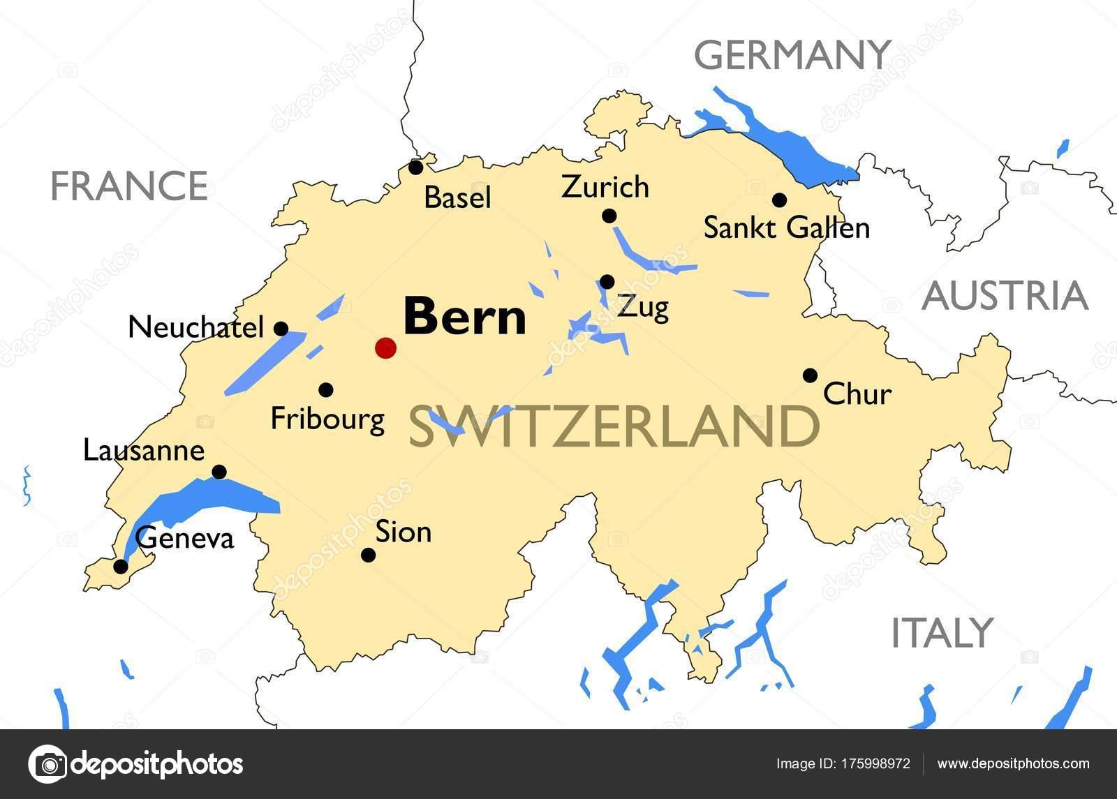 Switzerland Map Vector Detailed Color Switzerland Map Stock