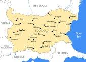 Bulharsko mapa   Vektorová mapa Bulharsko detailní barev