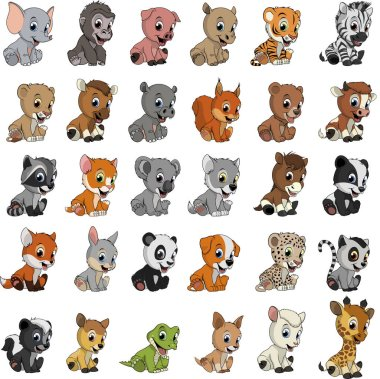 Vector illustration set of funny exotic animals on a white background stock vector