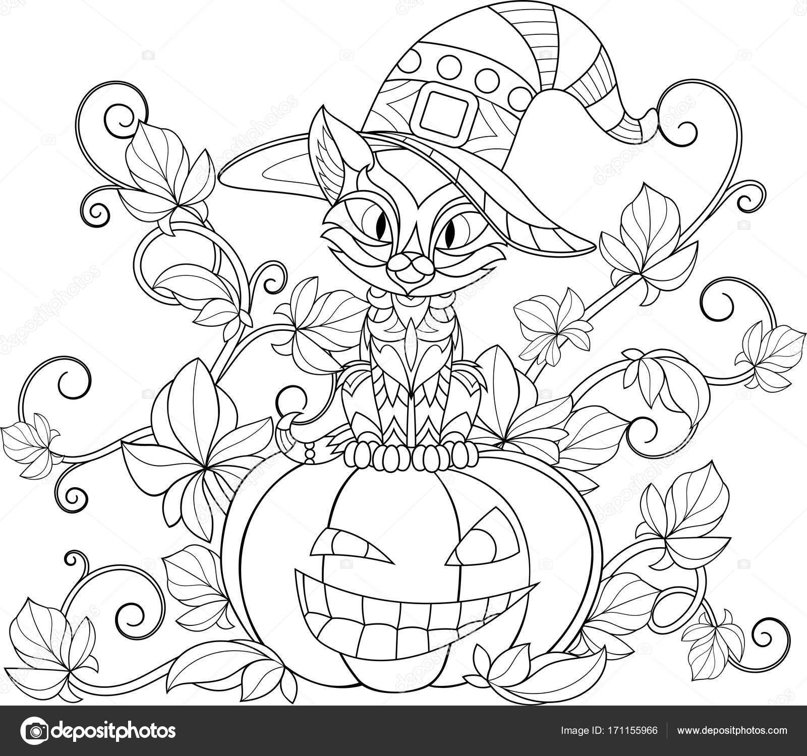 Thema Kleurplaten Halloween.Thematische Kleurplaten Voor Halloween Stockvector