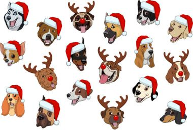 Set of dogs for Christmas