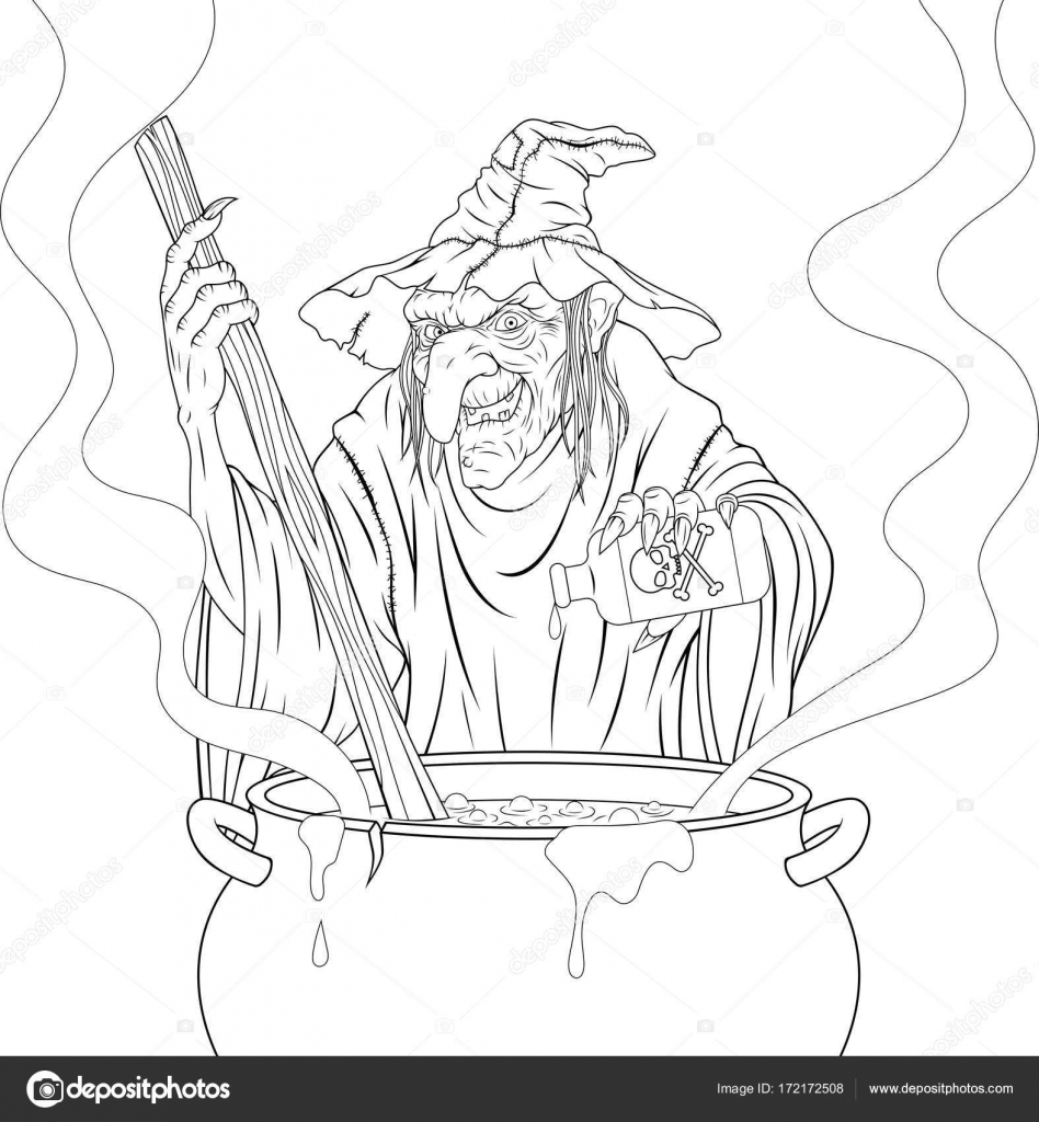 Verschrikkelijke Heks Kookt De Potion Stockvector C Andrey Makurin