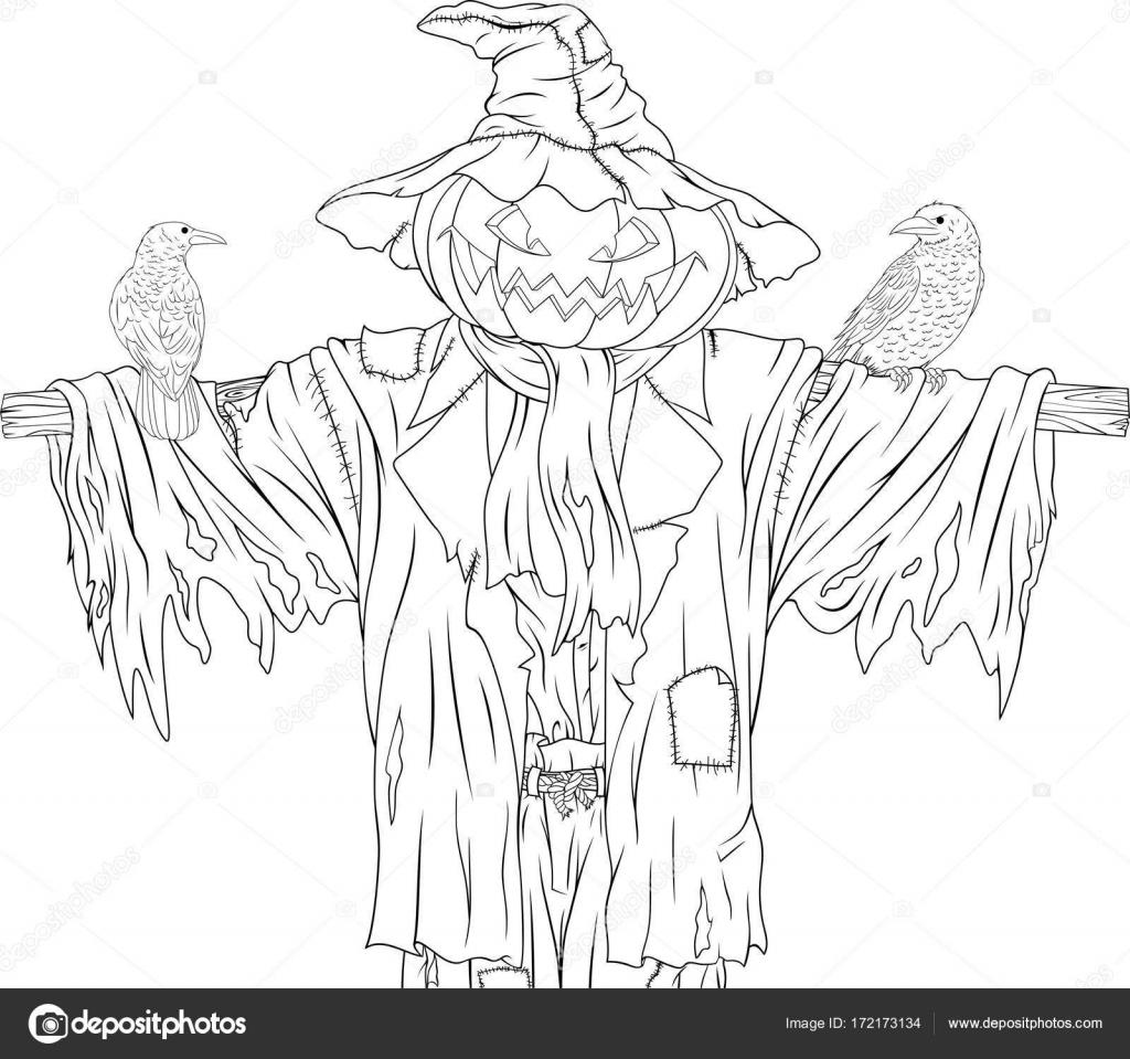 Espantapájaros para halloween con cuervos — Archivo Imágenes ...