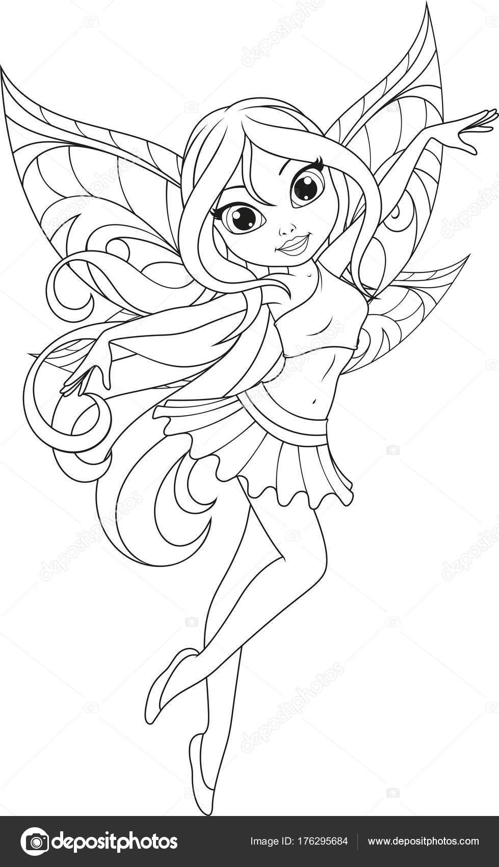 Alas de hadas para dibujar | Linda hada con alas — Vector de stock ...