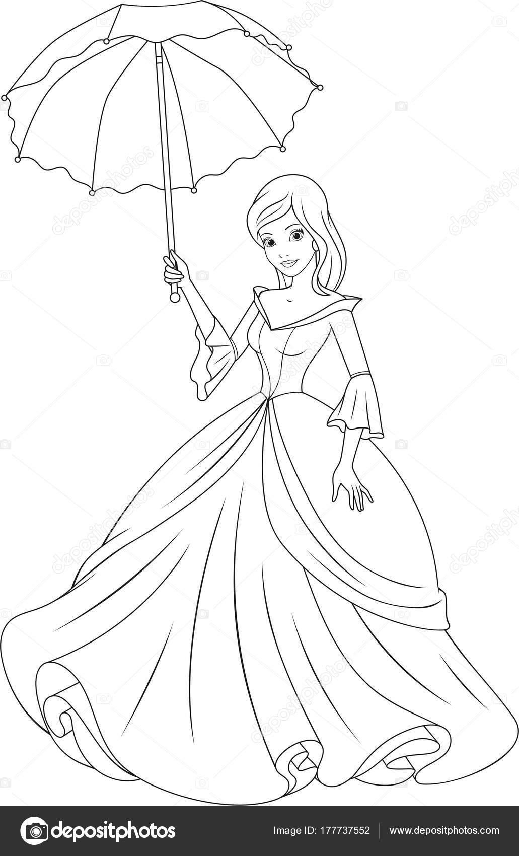 Güzel Prenses Boyama Stok Vektör Andreymakurin 177737552