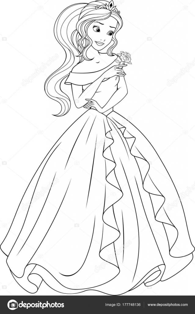 Para colorear la hermosa princesa — Archivo Imágenes Vectoriales ...