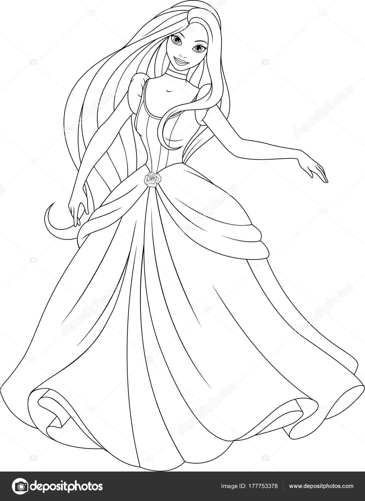 Güzel Prenses Boyama Stok Vektör Andreymakurin 177753378