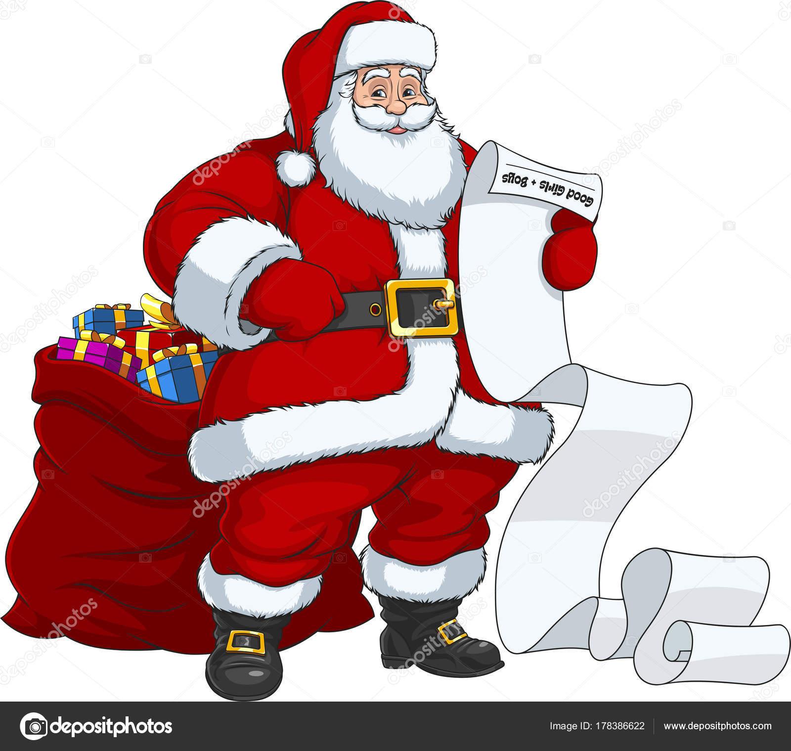 Immagini Babbo Natale Con Sacco.Babbo Natale Con Un Sacco Di Regali Vettoriali Stock