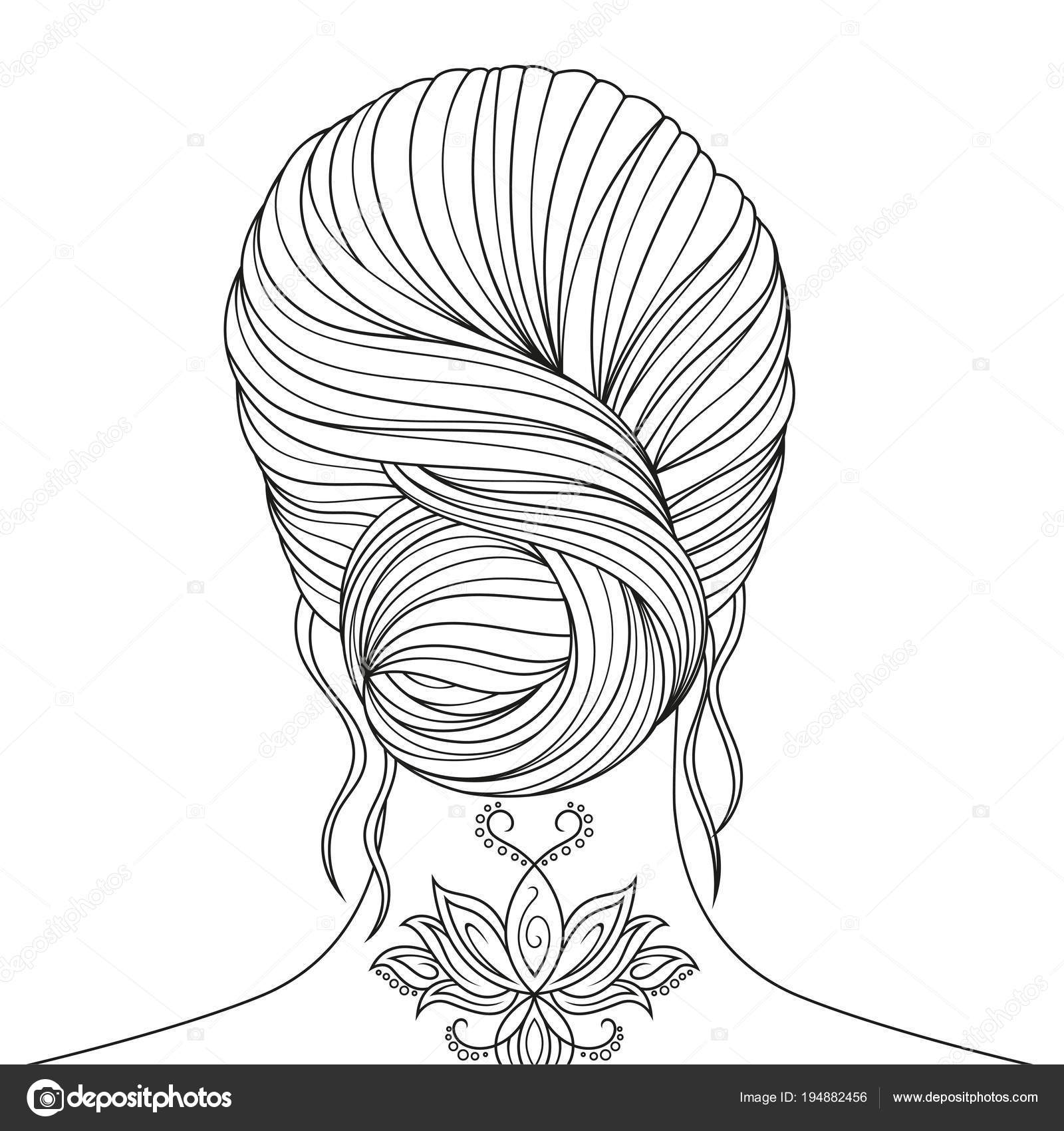 Beautiful Girl Coloring Pages Stock Vector