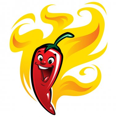 Cartoon happy spicy red chilly hot pepper vector illustration ch