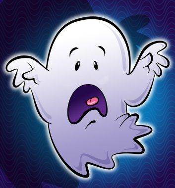 Cute little white scary cartoon ghost illustration in blue backg