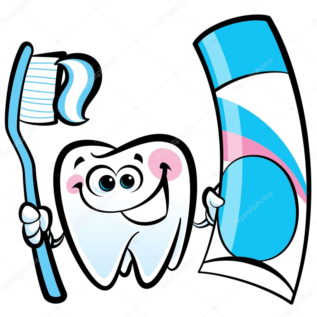 Dibujos Animados Feliz Diente Molar Carácter Holding Dental Cepillo