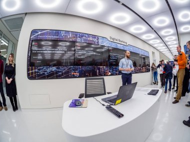 MOSCOW, RUSSIA - APRIL 3, 2018: Huawei Russia manager presents demo stand Digital Banking at event opening OpenLab department on April 3, 2018 in Moscow, Russia