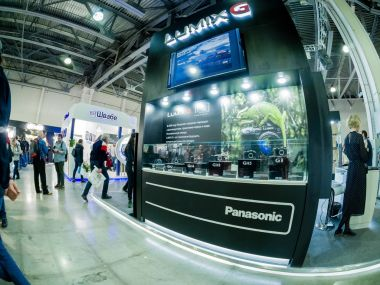 MOSCOW, RUSSIA - APRIL 13, 2018: Booth of Panasonic company at PhotoForum 2018 trade show and exhibition in Moscow, Russia on April 13, 2018