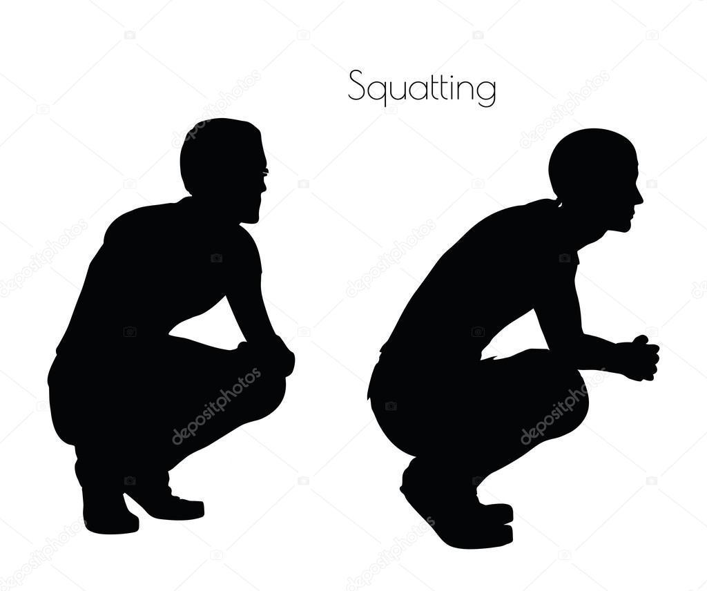 Homme en posture assise accroupie sur fond blanc image - Dessin bonhomme assis ...