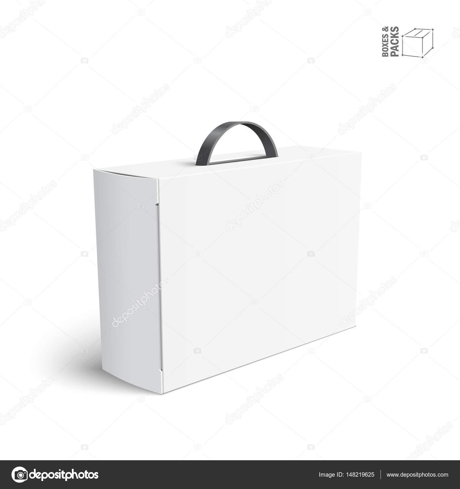 Boite De Carton Ou En Plastique Blanc Paquet Vide Avec Poignee