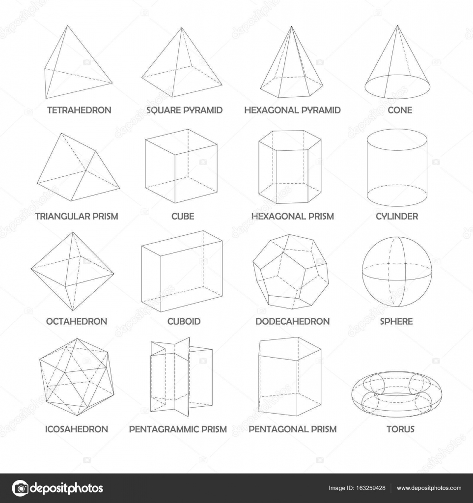 Alle grundlegenden 3d Formen Vorlage. Realistisch mit Schatten ...