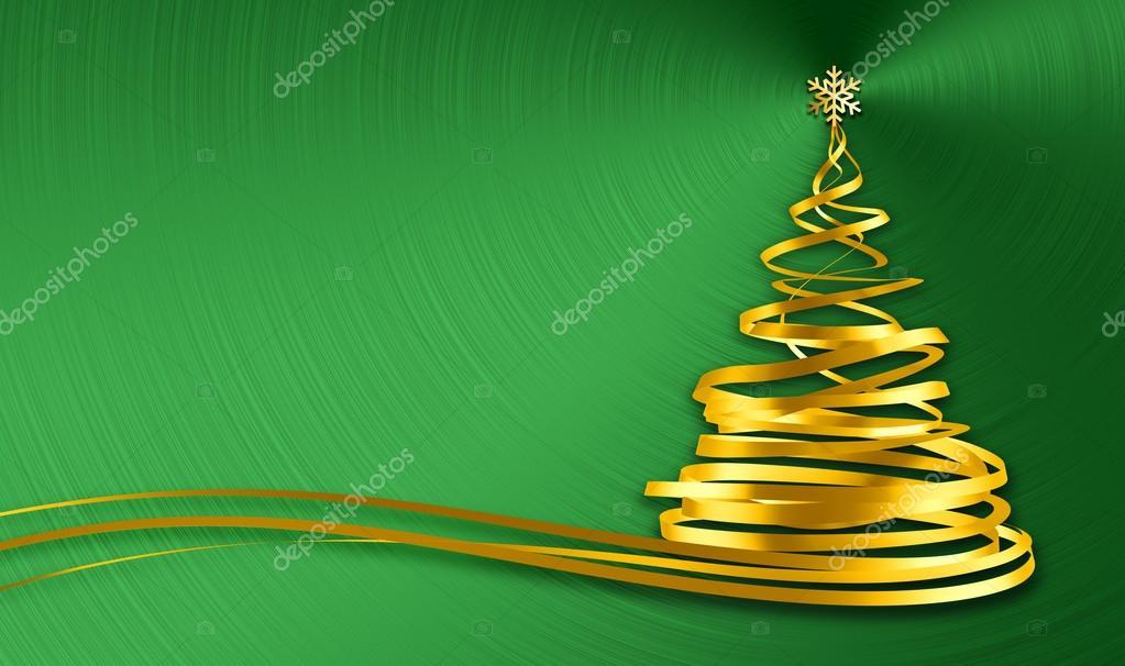 Árbol de Navidad de cintas de oro sobre fondo verde de Metal — Foto ...