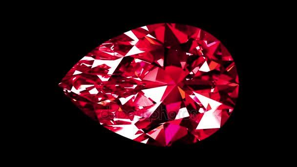 Iridescent Ruby Pear Cut. Looped. Alpha Matte.