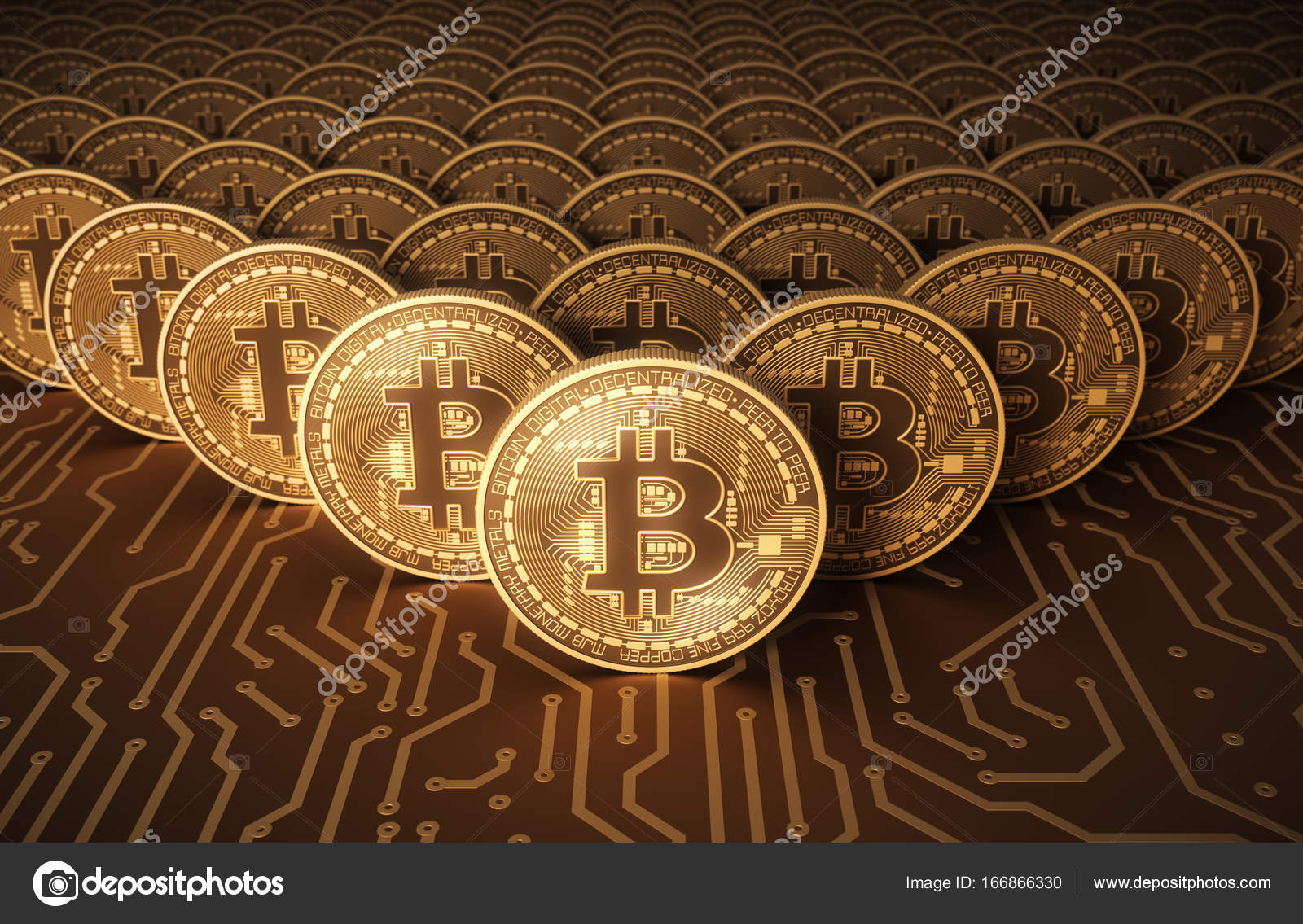 Virtual Coins Bitcoins On Printed Circuit Board Stock Editorial Pcb The Printedcircuitboard 3d Royalty Free Photography Photo