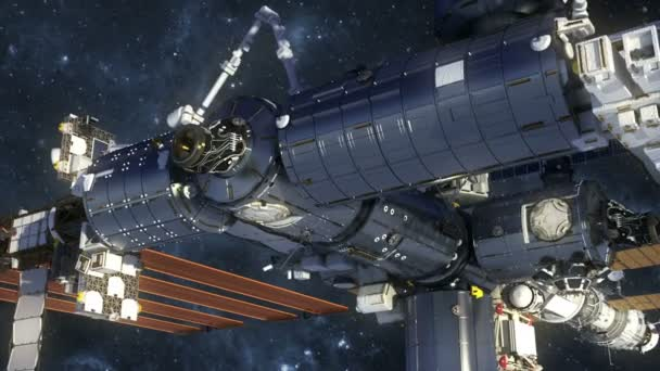 Flight Of International Space Station In Outer Space. 3D Animation.