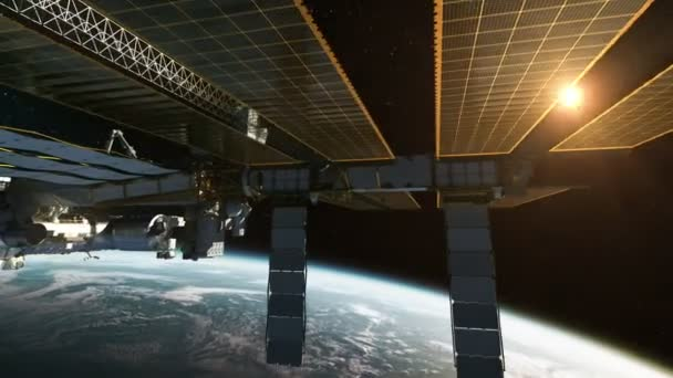 International Space Station In The Rays Of Sun. 3D Animation.