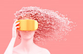 Beautiful Woman Wearing Gold VR Glasses And 3D Pixels As Hair On Pink Background. Virtual Reality Concept.