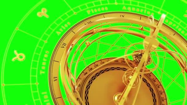 Sternzeichen und Armillarsphäre auf grünem Bildschirm. Nahtlose Loopings.