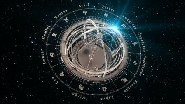 4K. Sternzeichen und Armillarsphäre auf schwarzem Hintergrund. Nahtlose Loopings.