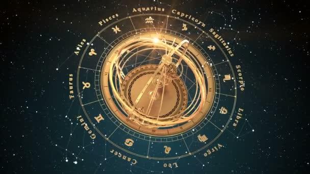 4K. Sternzeichen und Armillarsphäre auf blauem Hintergrund. Nahtlose Loopings.