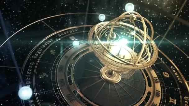 4K. Armillarsphäre und Sternzeichen Astrologie auf dem Hintergrund des Sternenhimmels.
