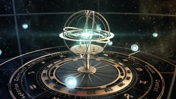 4K. Armillarsphäre und Astrologie-Zeichen auf dem Hintergrund des Sternenhimmels.