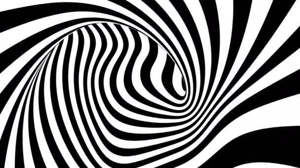 4K. Schwarze und weiße hypnotische Streifen in Bewegung.