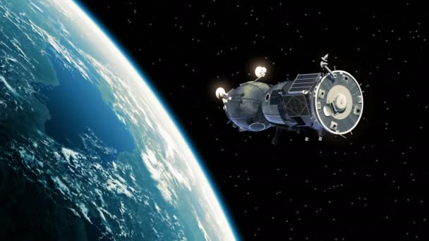 Spacecraft Deploys Solar Panels In Outer Space. 4K.