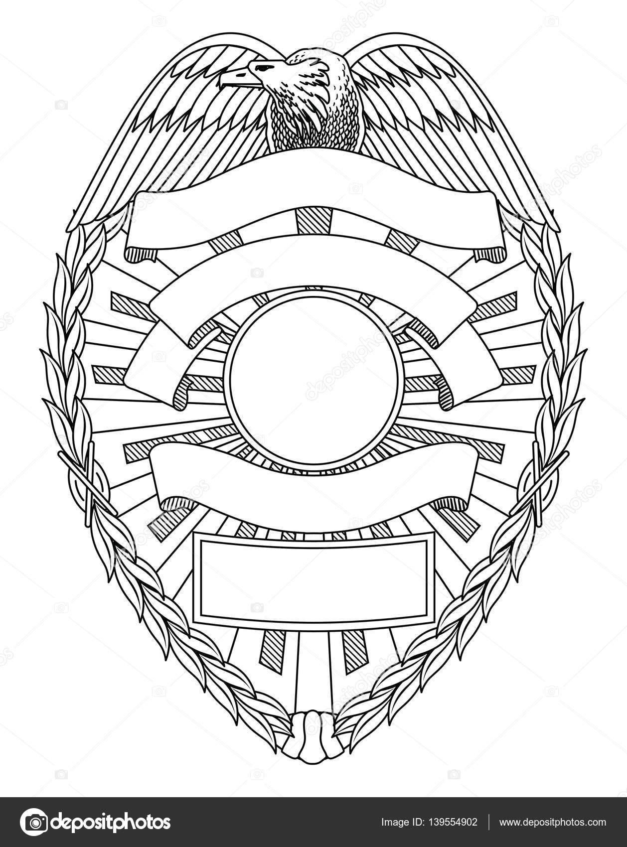 Policía insignia en blanco — Archivo Imágenes Vectoriales ...